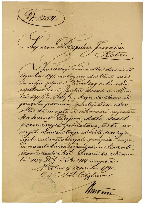 Дозвола за рад Драгутина Јовановића у Котору, 1891.
